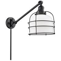 Innovations Lighting 237-BK-G71-CE Large Bell Cage 21 inch 60 watt Matte Black Swing Arm Wall Light Franklin Restoration