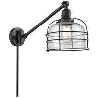 Innovations Lighting 237-BK-G72-CE Large Bell Cage 21 inch 60 watt Matte Black Swing Arm Wall Light Franklin Restoration