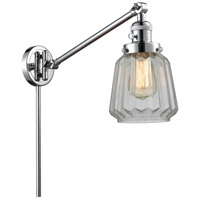Innovations Lighting 237-PC-G142-LED Chatham 35 inch 3.5 watt Polished Chrome Swing Arm Wall Light Franklin Restoration