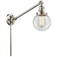 Innovations Lighting 237-PN-G202-6 Beacon 21 inch 60.00 watt Polished Nickel Swing Arm Wall Light Franklin Restoration