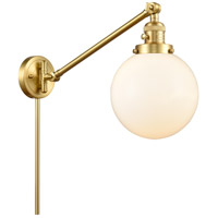Innovations Lighting 237-SG-G201-8 Large Beacon 21 inch 60.00 watt Satin Gold Swing Arm Wall Light Franklin Restoration