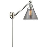 Innovations Lighting 237-SN-G43 Signature 21 inch 100 watt Brushed Satin Nickel Swing Arm Sconce Wall Light Large Cone