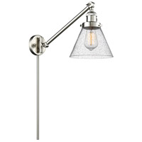 Signature 21 inch 100 watt Brushed Satin Nickel Swing Arm Sconce Wall Light, Large, Cone