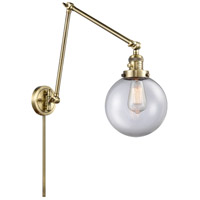 Innovations Lighting 238-AB-G202-8 Large Beacon 30 inch 60.00 watt Antique Brass Swing Arm Wall Light Franklin Restoration