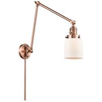 Innovations Lighting 238-AC-G51 Small Bell 30 inch 60.00 watt Antique Copper Swing Arm Wall Light Franklin Restoration