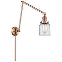 Innovations Lighting 238-AC-G52 Small Bell 30 inch 60.00 watt Antique Copper Swing Arm Wall Light Franklin Restoration