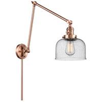 Innovations Lighting 238-AC-G74 Large Bell 30 inch 60.00 watt Antique Copper Swing Arm Wall Light, Franklin Restoration