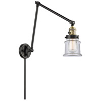 Innovations Lighting 238-BAB-G182S Small Canton 30 inch 60.00 watt Black Antique Brass Swing Arm Wall Light, Franklin Restoration