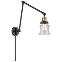 Innovations Lighting 238-BAB-G184S Small Canton 30 inch 60.00 watt Black Antique Brass Swing Arm Wall Light, Franklin Restoration