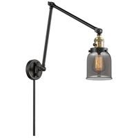 Innovations Lighting 238-BAB-G53 Small Bell 30 inch 60.00 watt Black Antique Brass Swing Arm Wall Light Franklin Restoration