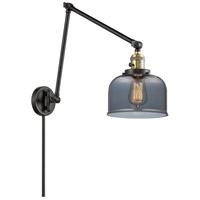 Innovations Lighting 238-BAB-G73 Large Bell 30 inch 60.00 watt Black Antique Brass Swing Arm Wall Light, Franklin Restoration