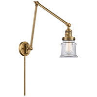 Innovations Lighting 238-BB-G182S Small Canton 30 inch 60.00 watt Brushed Brass Swing Arm Wall Light, Franklin Restoration