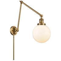 Innovations Lighting 238-BB-G201-8 Large Beacon 30 inch 60.00 watt Brushed Brass Swing Arm Wall Light, Franklin Restoration