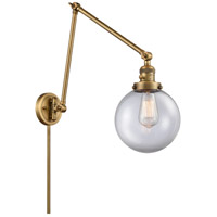 Innovations Lighting 238-BB-G202-8 Large Beacon 30 inch 60.00 watt Brushed Brass Swing Arm Wall Light, Franklin Restoration