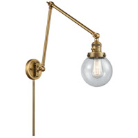 Innovations Lighting 238-BB-G204-6 Beacon 30 inch 60.00 watt Brushed Brass Swing Arm Wall Light, Franklin Restoration