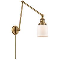 Innovations Lighting 238-BB-G51 Small Bell 30 inch 60.00 watt Brushed Brass Swing Arm Wall Light Franklin Restoration
