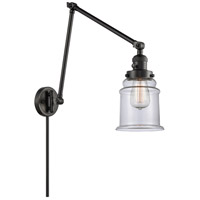 Innovations Lighting 238-BK-G182 Canton 30 inch 60.00 watt Matte Black Swing Arm Wall Light, Franklin Restoration