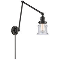 Innovations Lighting 238-BK-G182S Small Canton 30 inch 60 watt Matte Black Swing Arm Wall Light Franklin Restoration