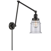 Innovations Lighting 238-BK-G184 Canton 30 inch 60.00 watt Matte Black Swing Arm Wall Light, Franklin Restoration