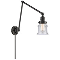 Innovations Lighting 238-BK-G184S Small Canton 30 inch 60 watt Matte Black Swing Arm Wall Light Franklin Restoration
