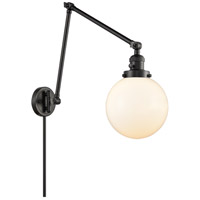Innovations Lighting 238-BK-G201-8 Large Beacon 30 inch 60.00 watt Matte Black Swing Arm Wall Light, Franklin Restoration