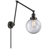 Innovations Lighting 238-BK-G202-8 Large Beacon 30 inch 60.00 watt Matte Black Swing Arm Wall Light, Franklin Restoration