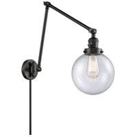 Innovations Lighting 238-BK-G204-8 Large Beacon 30 inch 60 watt Matte Black Swing Arm Wall Light Franklin Restoration