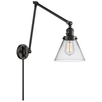 Innovations Lighting 238-BK-G42 Large Cone 30 inch 60 watt Matte Black Swing Arm Wall Light Franklin Restoration