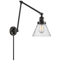 Innovations Lighting 238-BK-G44 Large Cone 30 inch 60 watt Matte Black Swing Arm Wall Light Franklin Restoration