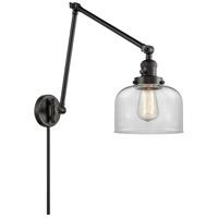 Innovations Lighting 238-BK-G72 Large Bell 30 inch 60.00 watt Matte Black Swing Arm Wall Light Franklin Restoration