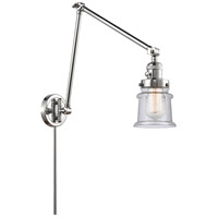 Innovations Lighting 238-PC-G184S Small Canton 30 inch 60.00 watt Polished Chrome Swing Arm Wall Light, Franklin Restoration