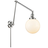 Innovations Lighting 238-PC-G201-8 Large Beacon 30 inch 60.00 watt Polished Chrome Swing Arm Wall Light, Franklin Restoration