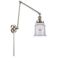 Innovations Lighting 238-PN-G182 Canton 30 inch 60.00 watt Polished Nickel Swing Arm Wall Light, Franklin Restoration