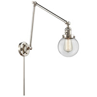 Innovations Lighting 238-PN-G202-6 Beacon 30 inch 60.00 watt Polished Nickel Swing Arm Wall Light, Franklin Restoration