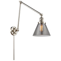 Innovations Lighting 238-PN-G43 Large Cone 30 inch 60.00 watt Polished Nickel Swing Arm Wall Light, Franklin Restoration
