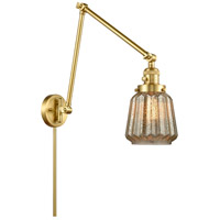 Innovations Lighting 238-SG-G146 Chatham 30 inch 60.00 watt Satin Gold Swing Arm Wall Light, Franklin Restoration