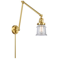 Innovations Lighting 238-SG-G182S Small Canton 30 inch 60.00 watt Satin Gold Swing Arm Wall Light, Franklin Restoration