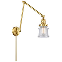 Innovations Lighting 238-SG-G184S Small Canton 30 inch 60.00 watt Satin Gold Swing Arm Wall Light, Franklin Restoration