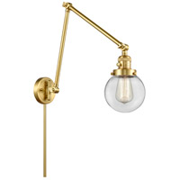 Innovations Lighting 238-SG-G202-6 Beacon 30 inch 60.00 watt Satin Gold Swing Arm Wall Light, Franklin Restoration