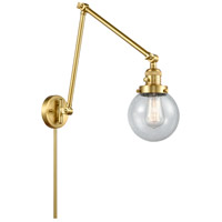 Innovations Lighting 238-SG-G204-6 Beacon 30 inch 60.00 watt Satin Gold Swing Arm Wall Light, Franklin Restoration