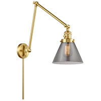 Innovations Lighting 238-SG-G43 Large Cone 30 inch 60.00 watt Satin Gold Swing Arm Wall Light, Franklin Restoration