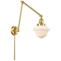 Innovations Lighting 238-SG-G531 Small Oxford 30 inch 60.00 watt Satin Gold Swing Arm Wall Light, Franklin Restoration