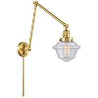 Innovations Lighting 238-SG-G534 Small Oxford 30 inch 60.00 watt Satin Gold Swing Arm Wall Light, Franklin Restoration