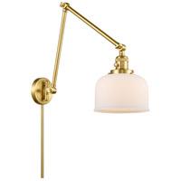 Innovations Lighting 238-SG-G71 Large Bell 30 inch 60.00 watt Satin Gold Swing Arm Wall Light Franklin Restoration