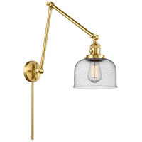Innovations Lighting 238-SG-G74 Large Bell 30 inch 60.00 watt Satin Gold Swing Arm Wall Light, Franklin Restoration