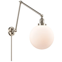 Innovations Lighting 238-SN-G201-10 Extra Large Beacon 32 inch 60.00 watt Brushed Satin Nickel Swing Arm Wall Light