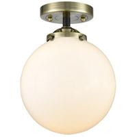 Innovations Lighting 284-1C-BAB-G201-8-LED Large Beacon LED 8 inch Black Antique Brass Semi-Flush Mount Ceiling Light Nouveau