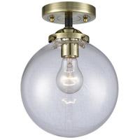 Innovations Lighting 284-1C-BAB-G202-8-LED Large Beacon LED 8 inch Black Antique Brass Semi-Flush Mount Ceiling Light Nouveau