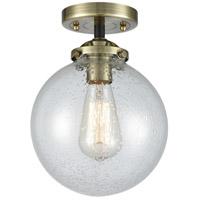 Innovations Lighting 284-1C-BAB-G204-8-LED Large Beacon LED 8 inch Black Antique Brass Semi-Flush Mount Ceiling Light Nouveau