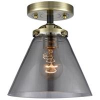 Innovations Lighting 284-1C-BAB-G43-LED Large Cone LED 8 inch Black Antique Brass Semi-Flush Mount Ceiling Light, Nouveau